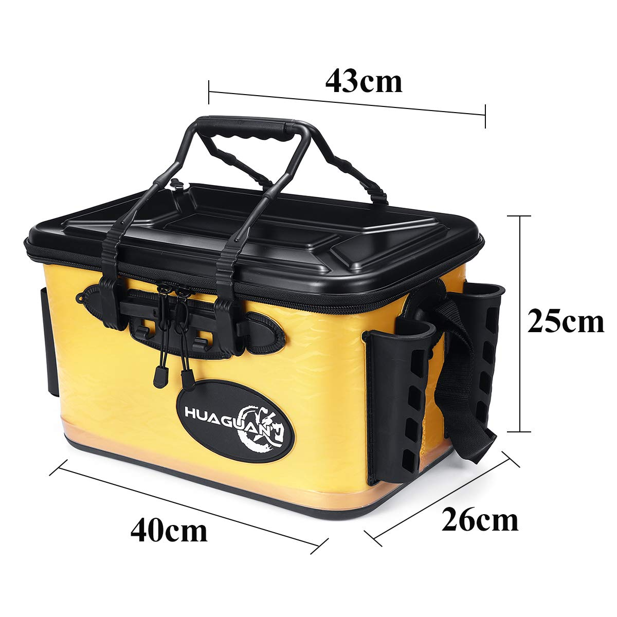 TuToy 28L Waterproof Fishing Live Bait Cooler Insulated Dry Box Foldable With Air Pump Shoulder Strap Amarillo