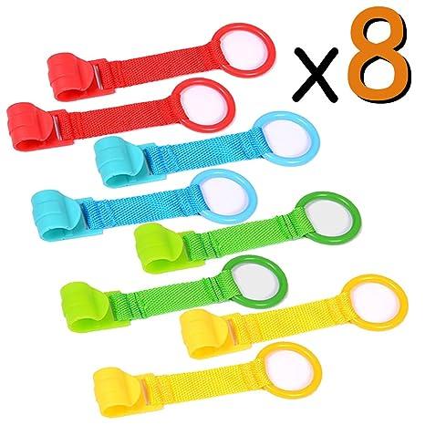 Anillas Para Cunas y Parques 8 Piezas, Ayuda a su Bebe a Ponerse de Pie Facilmente (Azul, Amarillo, Verde, Rojo) VOOA