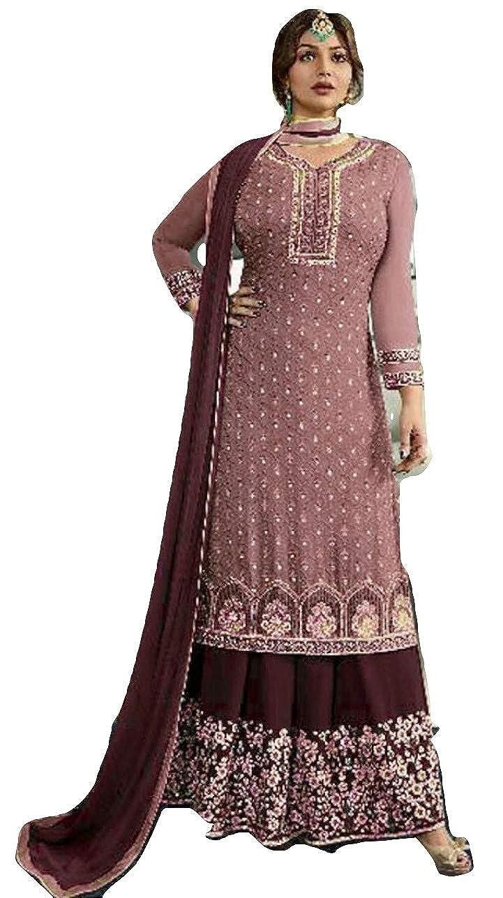 Brown stylishfashion Bollywood Designer Indian PakistaniSharara Style Salwar for Wedding Partywear Dress Ready to Wear Salwar Suit
