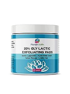20% Glycolic & Lactic Acid Skin Peel Exfoliating Pads - 60 PADS Chemical Free -Hyaluronic Acid  Niacinamide   Retinol   Sun Damage, Dark Sun/Spots,Uneven Skintone, Enlarged Pores,Wrinkles/Fine Lines