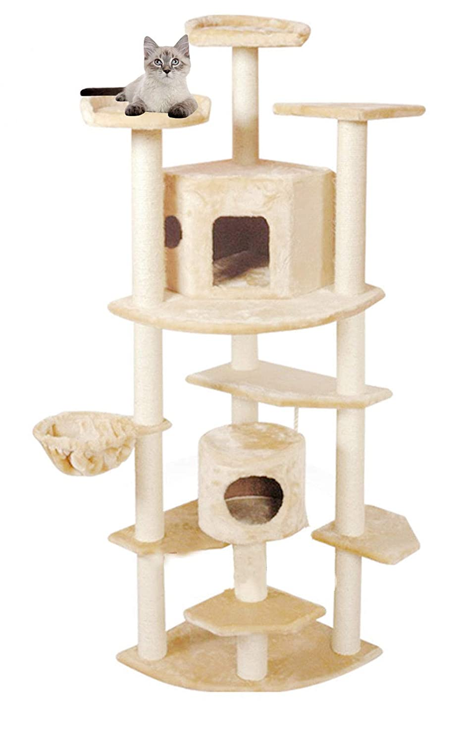 Cat Tree Condo Furniture Multi-Level Deluxe and Rope Kittens Activity Tower Pet Kitty Playhouse with Cat Trees Hammock
