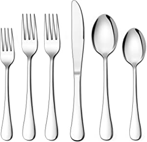 LIANYU 48-Piece Silverware Set with Extra Forks, Stainless Steel Flatware Cutlery Set for 8, Eating Utensils Tableware, Dishwasher Safe, Mirror Finish