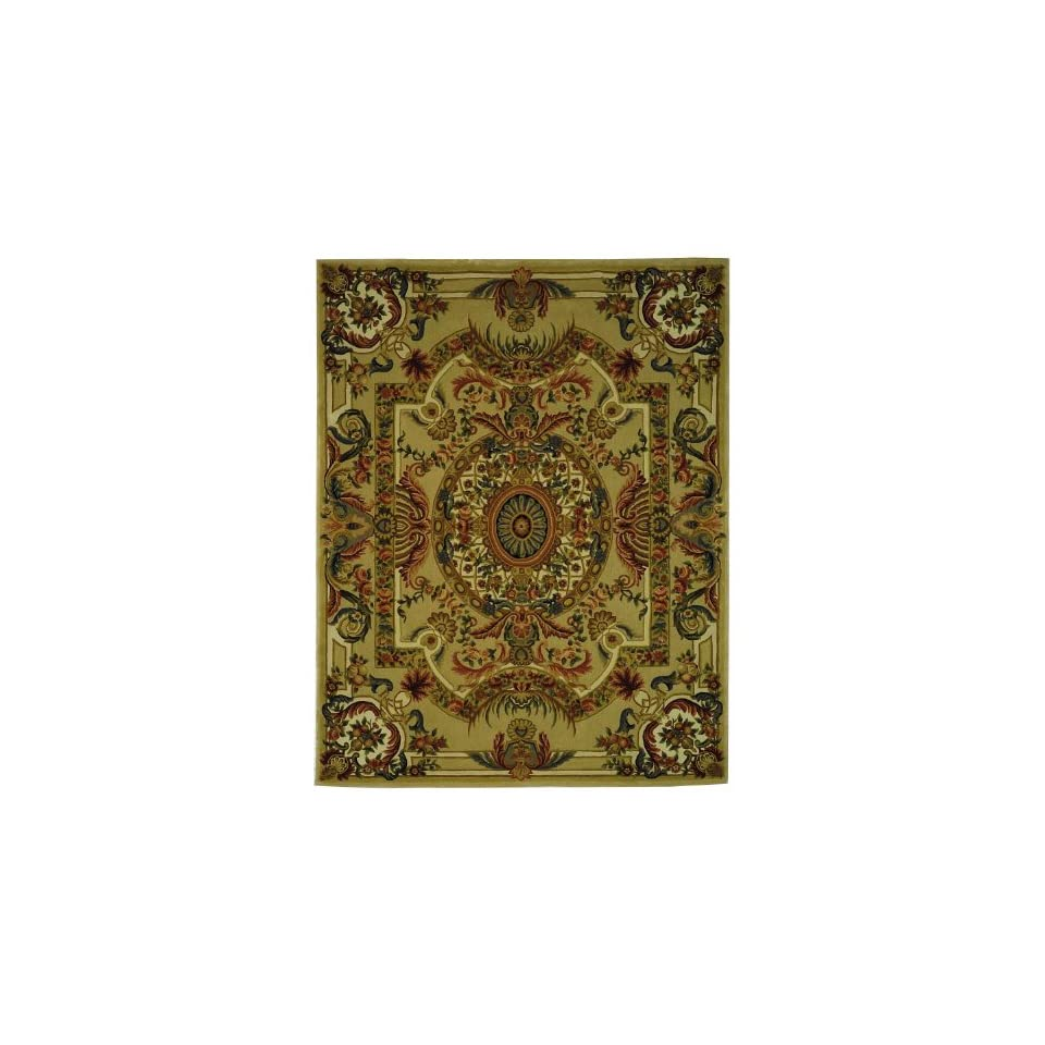 Safavieh Savonnerie Collection SAV202A Handmade Traditional European Sage and Beige Wool Area Rug (8 x 10)