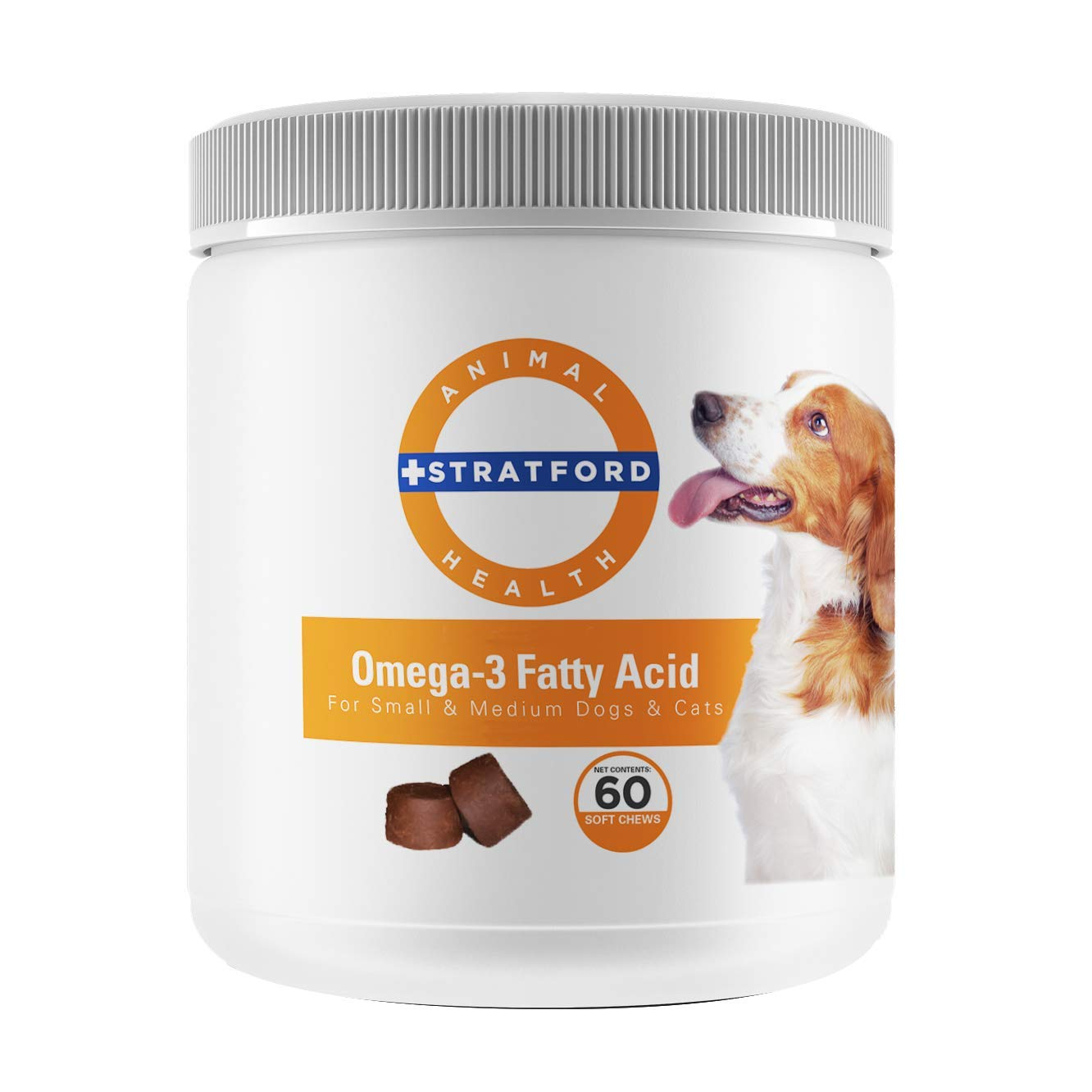 Stratford Pharmaceuticals Omega 3 Fatty Acid Soft Chew Max Strength - Dog Omega 3 Supplement - Soft Chew Treats with Fish Oil for Dogs - Small and Medium Dogs - 60 Soft Chews by Stratford Pharmaceuticals