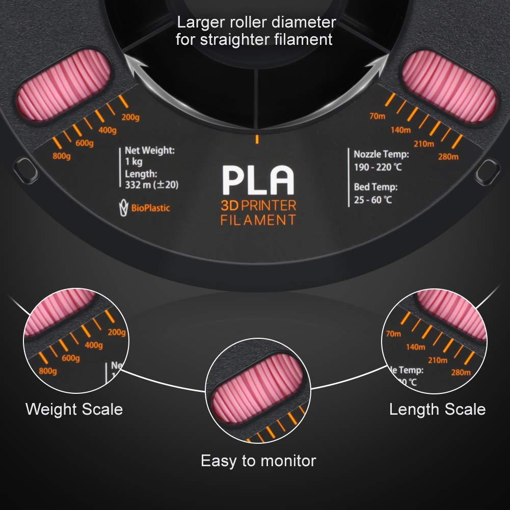 Overture PLA 3D Printer Filament 1-Pack Pink 1.75 1kg x 1