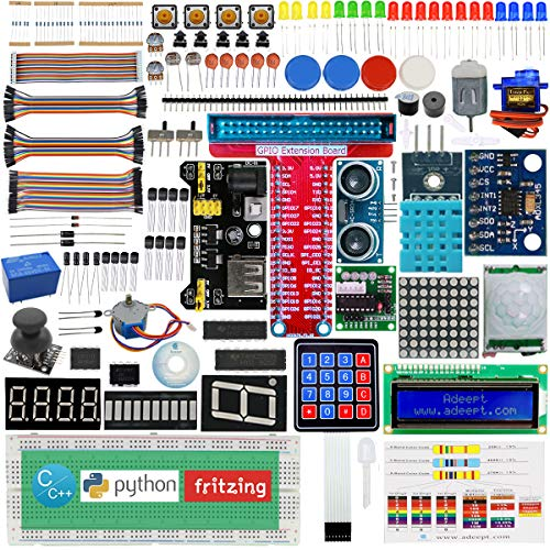 Adeept New Ultimate Starter Learning Kit for Raspberry Pi 3 2 Model B/B+ Python ADXL345 GPIO Cable DC Motor