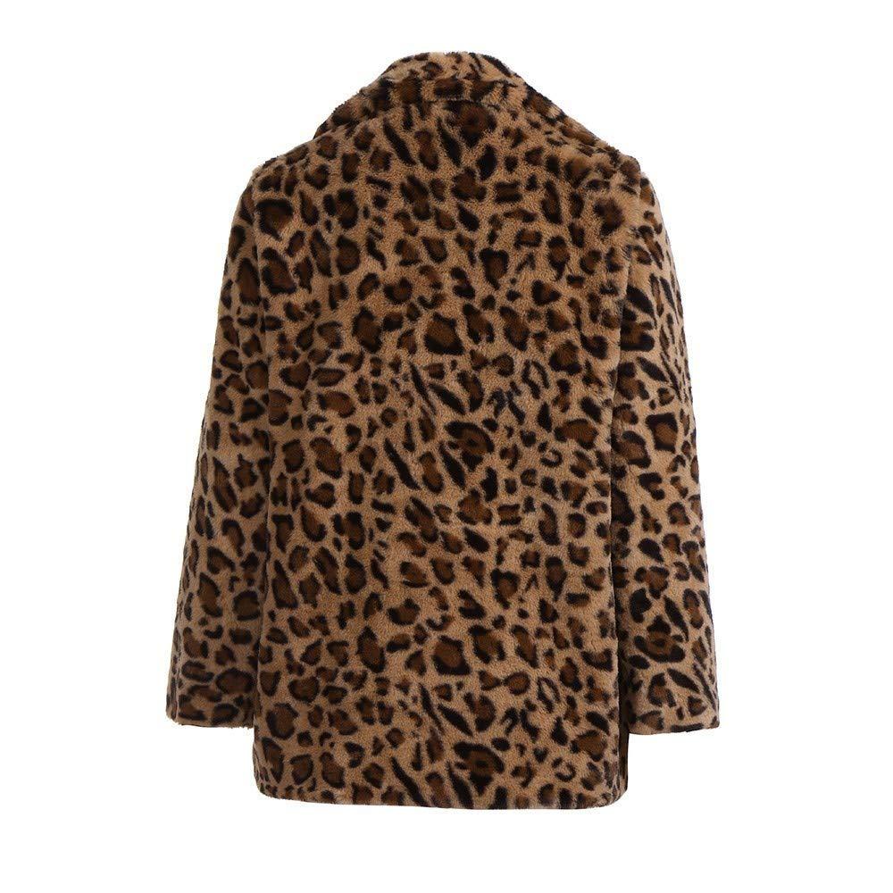 BBestseller-Abrigos Chaqueta de Abrigo Pieles de Piel sintética de Leopardo de Solapa de Leopardo de Las señoras Pullover Sweatshirt Sudadera con Capucha: ...