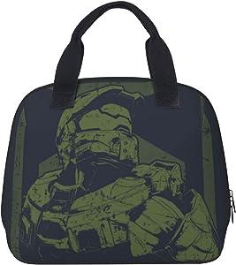 Halo - Master Chief Anime Portable Insulation Bag Casual Lunch Box Durable Waterproof Bento Box Cooler Warm Handbag For Travel School Beach Picnic Work