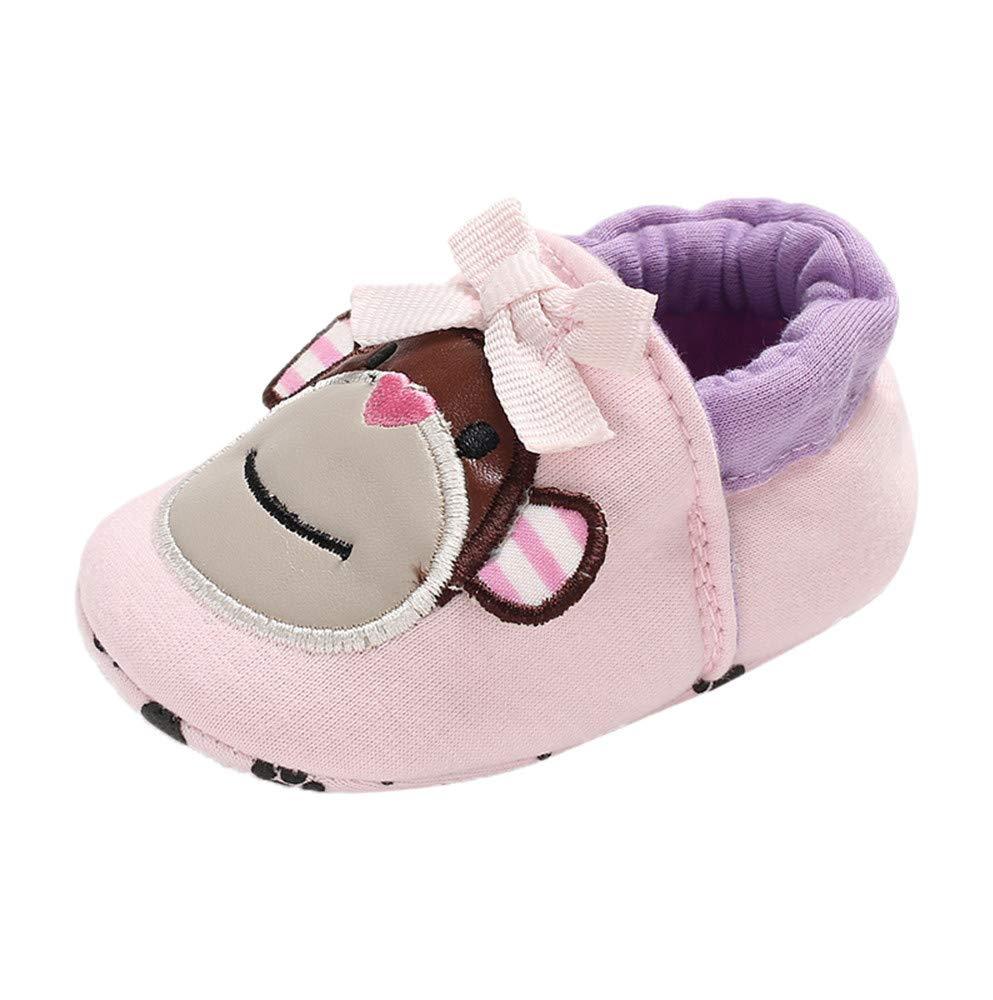 NUWFOR Baby Girl Soft Booties Snow Cartoon Animal Floor Shoes Prewalker Warm Shoes(Pink,0-6 Months)