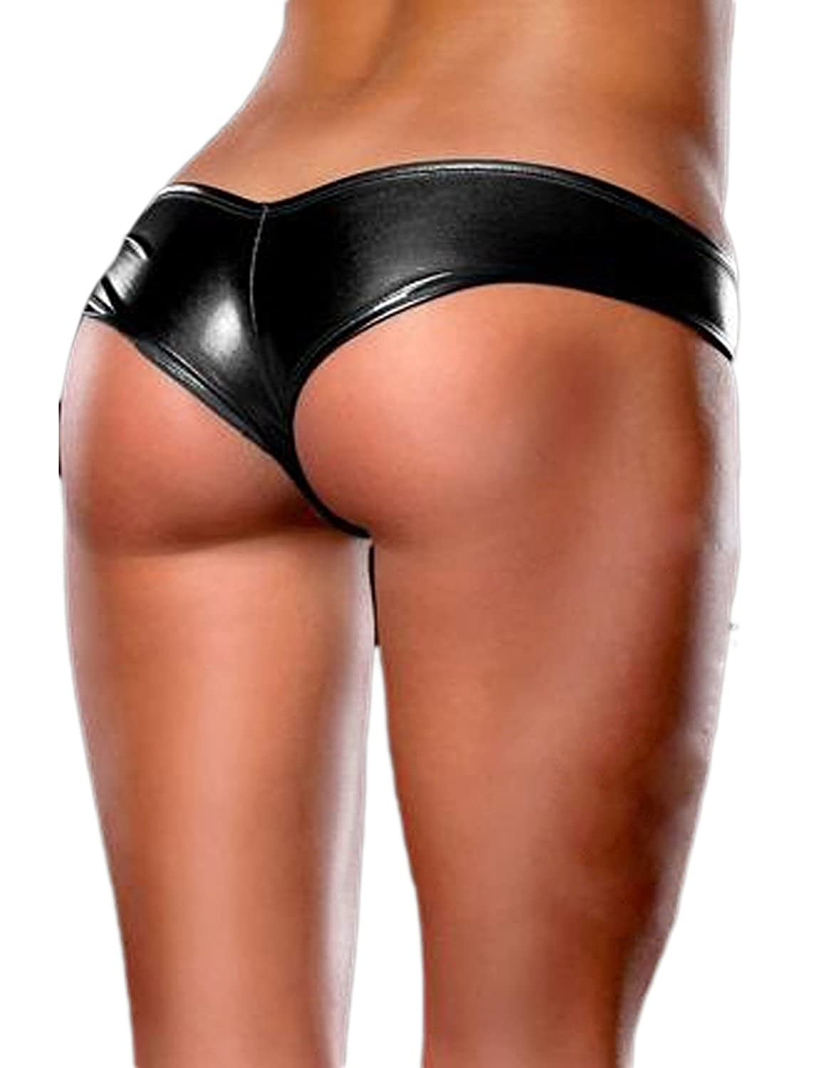Pink Queen Women Sexy Pu Leather Underwear Shorts Panty Thong ...