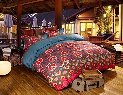 MeMoreCool Bohemian Egyptian Cotton 4 Pieces Bedding Set High-grade Elegant Exotic Quilt Covers Set Boho Bed Sheets Set Seven Different Colors Optional