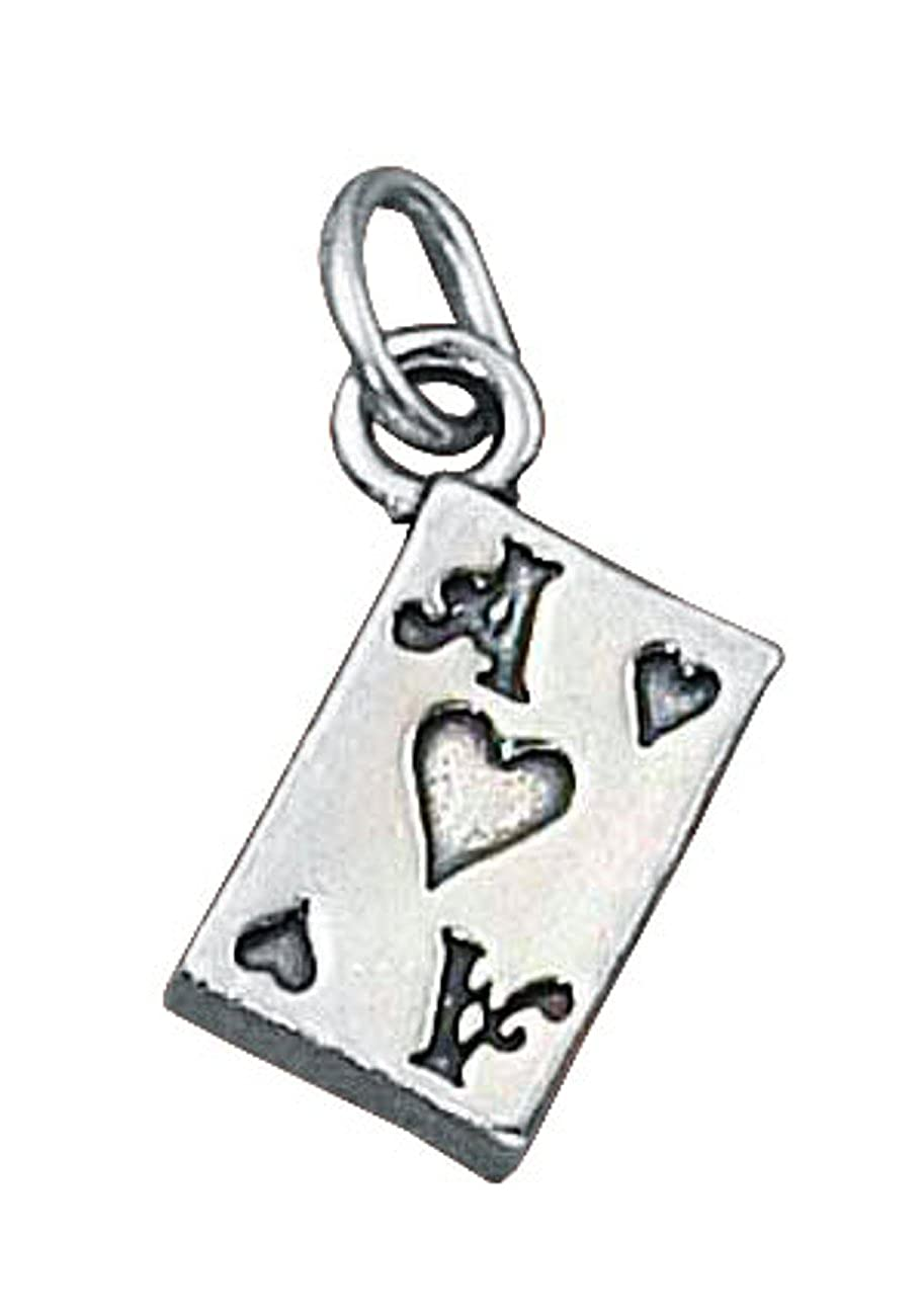 Sterling Silver Womens 1mm Box Chain 3D Good Luck Ace Of Hearts Poker Playing Card Game Pendant Necklace