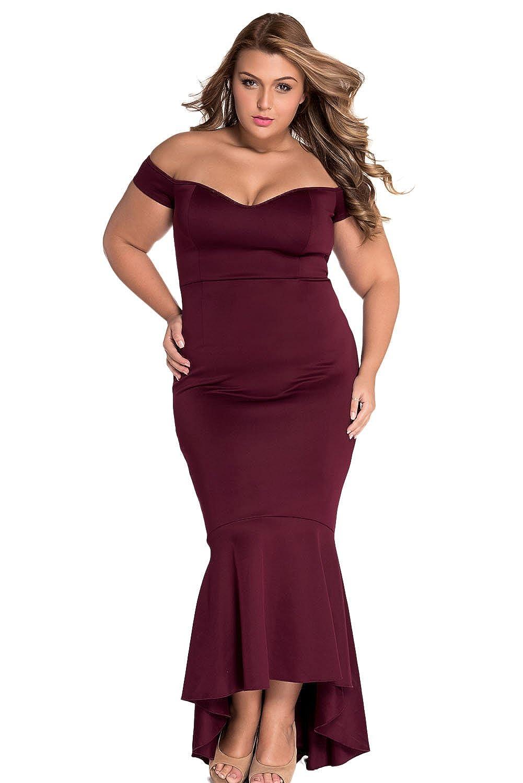 Ouregrace Womens Fishtail Long Evening Dress Off Shoulder Party Dress