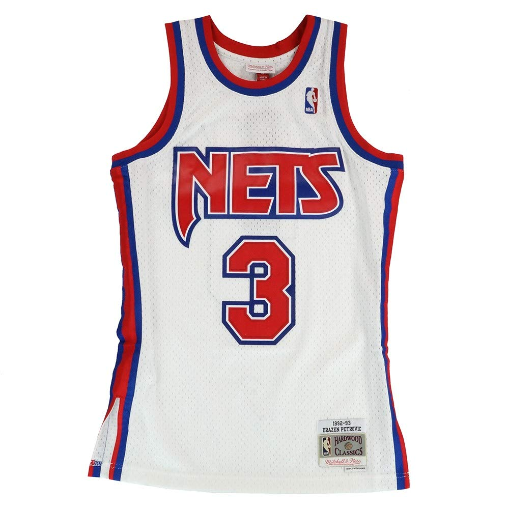 e9b12d5d73f Amazon.com : Mitchell & Ness Drazen Petrovic New Jersey Nets 1992-93 Home  Swingman Jersey : Sports & Outdoors