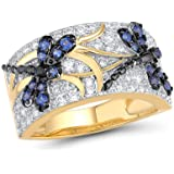 Santuzza Silver Rings for Woman Sparkling Blue Spinels White Cubic Zirconia Genuine 100% 925 Sterling Silver Ring Fine…