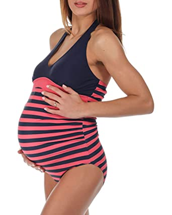 a3ce82223464a The Essential One Women's Stripe Maternity Swimsuit at Amazon Women's  Clothing store: