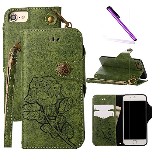 iPhone 6 Case 4.7 inch,iPhone 6S Case,LEECOCO Fancy Embossed Floral Wallet Case with Card/Cash Slots PU Leather Flip Folio & Hand Strap Stand Protective Case Cover for iPhone 6 / 6S Rose Green