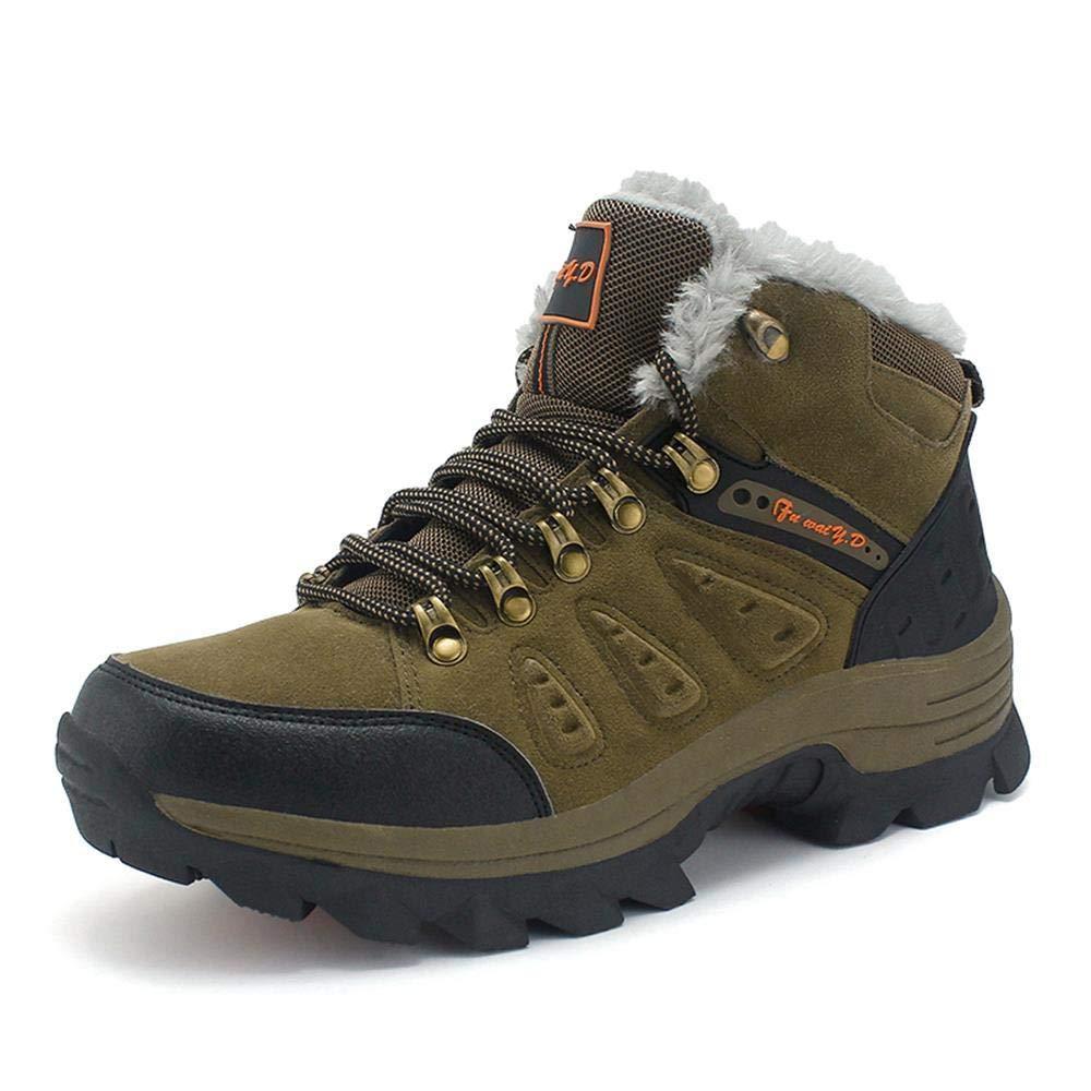 DZX Männer Frauen Stiefel Wandern Trekking Wanderschuhe Winter Wasserdichte Warme/Rutschfeste Wandern Warme Stiefel, Outdoor-Arbeit,Braun-47