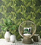 NextWall Tropical Banana Leaves Peel and Stick Wallpaper. (Green)