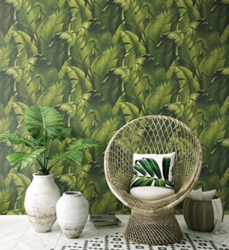 - NextWall Tropical Banana Leaves Peel and Stick Wallpaper. (Green)