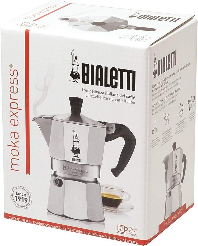 Bialetti Moka Express Cafetera Italiana Espresso, 2 Tazas ...