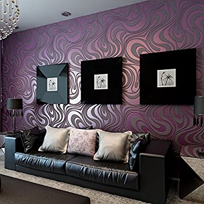QIHANG Modern Luxury Abstract Curve 3d Wallpaper Roll Mural Papel De Parede Flocking for Striped Purple Color Qh-wallpaper 0.7m8.4m=5.88?