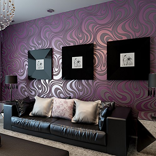 QIHANG Modern Luxury Abstract Curve 3d Wallpaper Roll Mural Papel De Parede Flocking for Striped Purple Color Qh-wallpaper 0.7m8.4m=5.88㎡ - Purple Striped Wallpaper