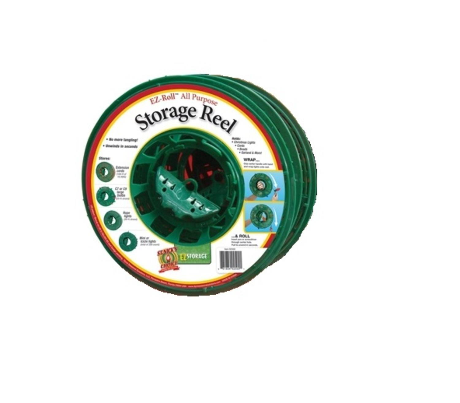 Pack of 4 Large Green Christmas Light Storage Reels with Center Handle