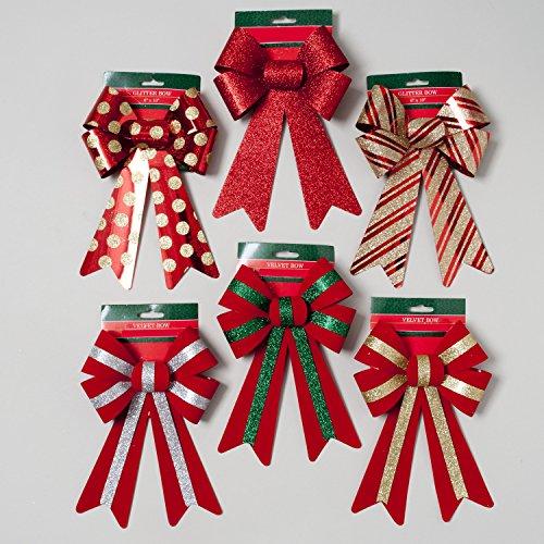(6 Red Velvet and Glitter Christmas Bows 6