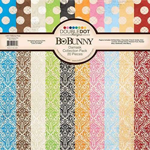 Bo Bunny Double Dot Damask Scrapbooking Paper, 12