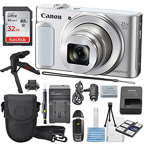Canon PowerShot SX620 HS Digital Camera along with 32GB, Deluxe Accessory Bundle and Cleaning Kit