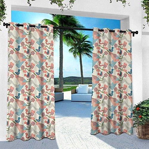 Hengshu Asian, Patio Curtains,Artistic Japanese Nature Traditional Kimono Pattern Birds on Branches, W120 x L84 Inch, Salmon Pale Green Blue
