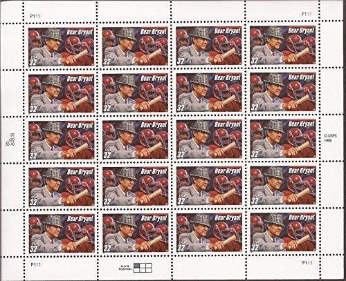 Alabama Stamps - USPS Paul Bear Bryant - Football Coach - University of Alabama Sheet of Twenty 32 Cent Stampsscott 3148