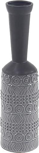 Deco 79 Modern Stoneware Vase, 5 W x 20 H, Gray, Black
