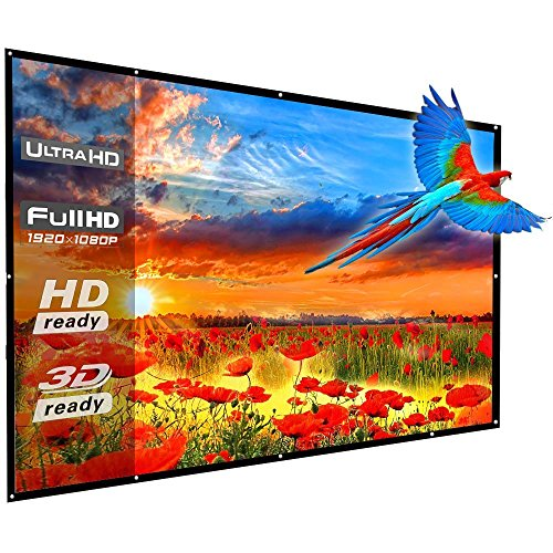 100 Inch Portable Projector Screen, YF2009 16:9 HD Folding Indoor Outdoor Movie Projection Screen for Camping/Home Theater/Education/Presentation/Party - with Hanging Hole Grommets, Easy to Install
