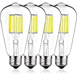DORESshop Dimmable Vintage LED Edison Bulbs, 100W Equivalent LED Filament Edison Bulbs, ST64 Antique Vintage LED Bulb Daylight White, Medium Screw Base (E26), 1000 Lumens, 4-Pack (4000K)