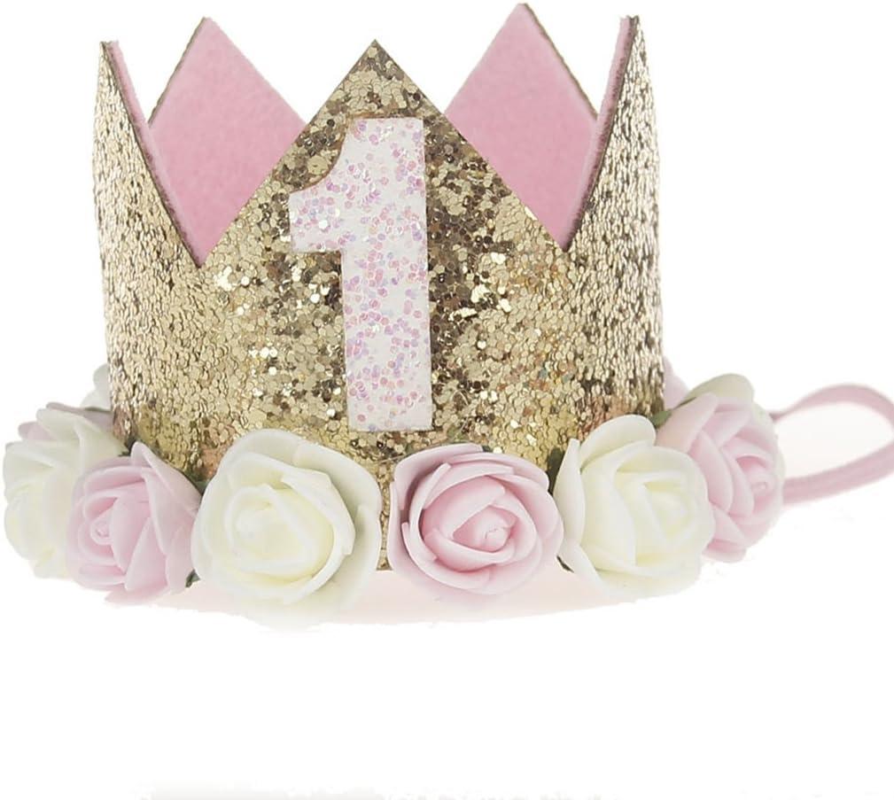 Hocaies Niñas Diadema de corona, princesa Venda, Accesorios para cabello diadema corona para Cabritos cumpleaños headwear Decoración de Fiesta de Cumpleaños de Bebé (05)