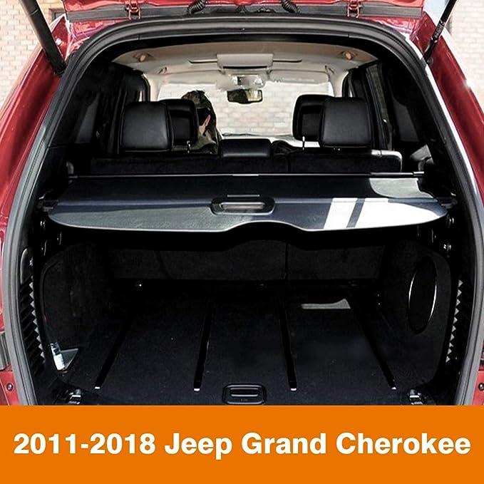 Orealtool Laderaumabdeckung Kofferraum Schutz Abdeckung Hundedecke Auto Cargo Cover Für Grand Cherokee 2011 2018 Schwarz Ausziehbar Kofferraumabdeckung Rollo Auto