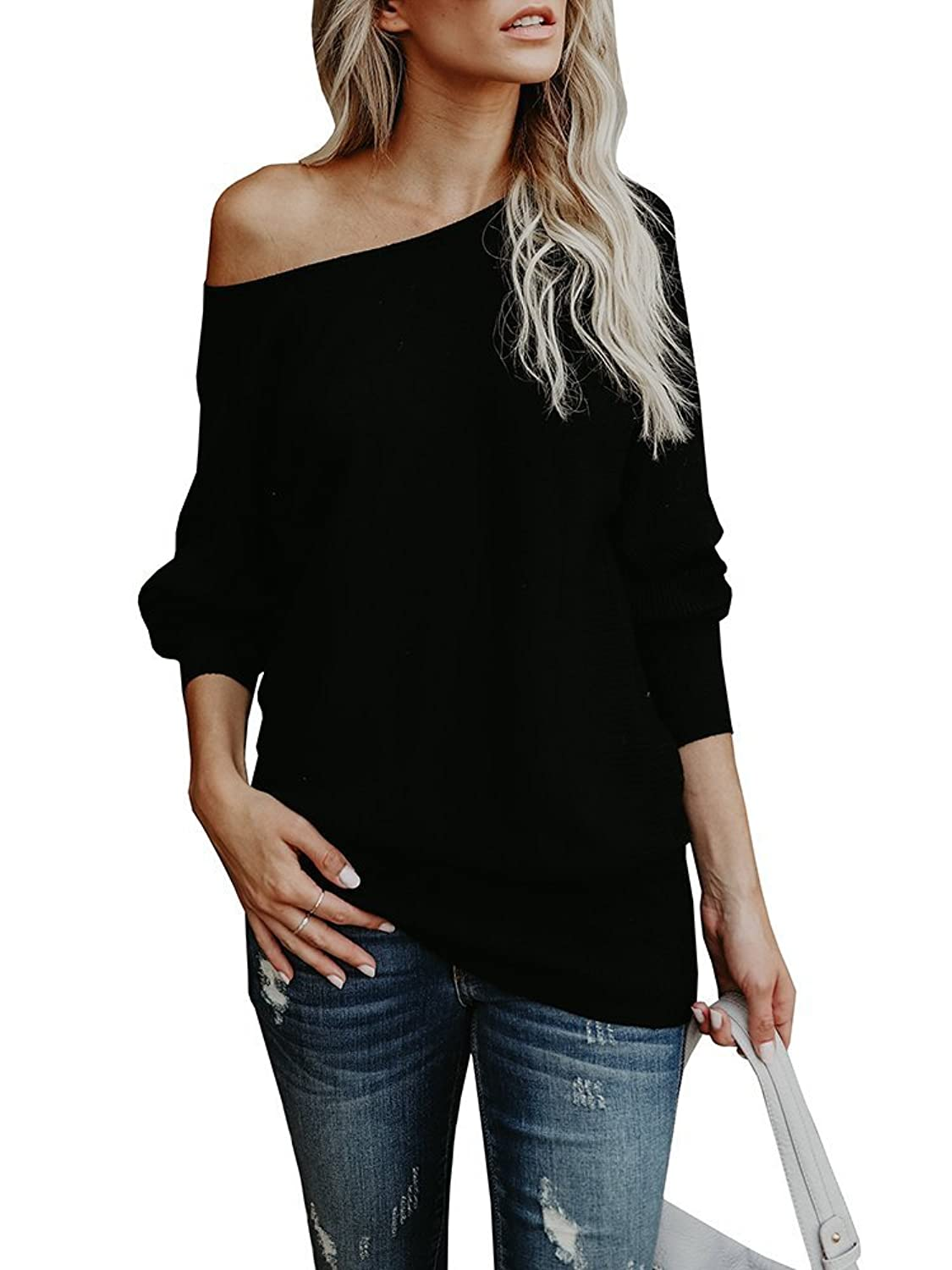 Women s Off Shoulder Knit Jumper long Sleeve Pullover Baggy Solid Sweater. Off  shoulder pullover tops 3eb4549b4