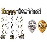 "Party Deko Set Silvester 12 teilig ""Happy New Year"" Girlande Luftballon Konfetti"