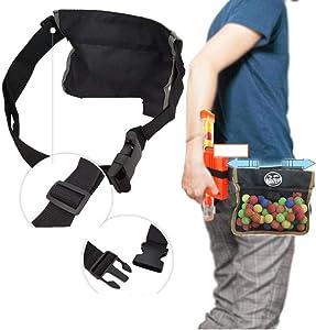 Kekailu Balls Pouch,Adjustable Elastic Balls Storage Bag Pouch for Nerf Rival Zeus Apollo Refill Toy,Black