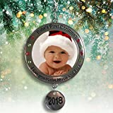 Baby's First Christmas - 2018 Photo Christmas Ornament with I Love You to the Moon and Back Engraved Around Picture Opening – New Baby Gift