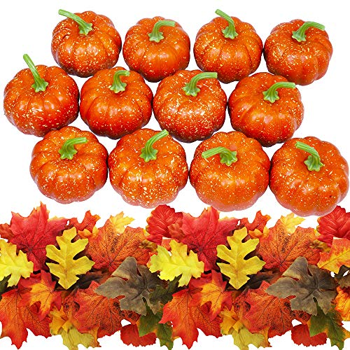 Winlyn 12 PCS Artificial Pumpkins Mini Fake Pumpkins with 60 PCS Lifelike Maple Leaves Halloween Thanksgiving Autumn Ornaments (Arrangements Pumpkins With Fall)