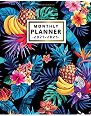 2021-2025 Monthly Planner: Awesome 5-Year Organizer, Agenda, Diary, Calendar | Exotic Floral Five Year Monthly Planner with Holidays, To Do Lists, Vision Boards, Notes | Tropical Fruit Palm Leaf Print