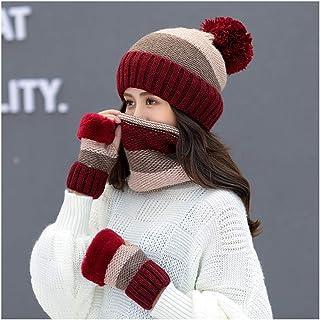 PENGFEI Hat Scarf Glove Set Female Winter Thicken Keep Warm Ski Tourism, 5 Colors (Color : Black)