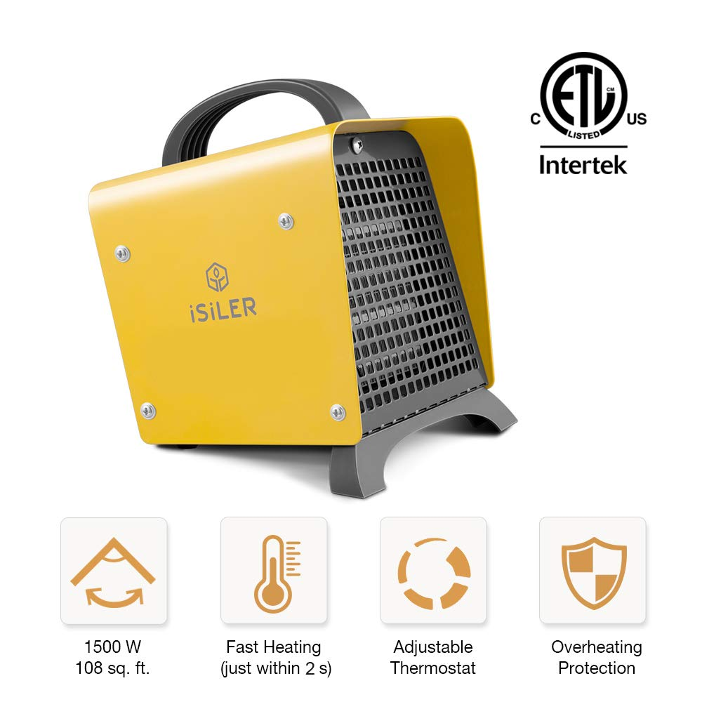 Portable Space Heater, iSiLER 1500W Mini Electric PTC Heater with Adjustable Thermostat, Hot & Cool Fan Indoor Ceramic Heater with Overheating Protection Auto Shut Off, ETL Certified for Home, Office