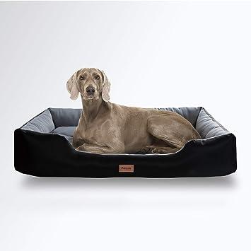Bedsure Cama Perro Extra Grande Impermeable(110x76x20cm) - Colchón Perro Desenfundable Lavable Reversible - Negro/Gris,XL