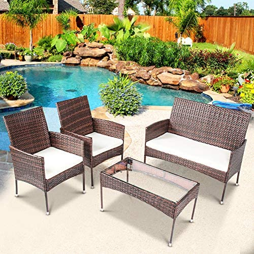DKLGG Patio Furniture Sets Outdoor Rattan Wicker Porch Outdoor Conversation Chairs 4 Piece