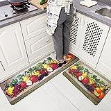 USTIDE 2Pcs Non-Skid/Slip Rubber Back Kitchen Rug Sets Waterproof and Oil Proof Carpet Doormat,Fruit Group