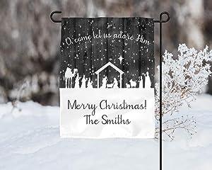 O Come Let Us Adore Him Nativity Christmas Garden Flag Sublimation Template